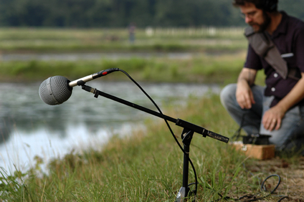 A photo of a microphone on a stand, setup outside near a body of water. A man crouches nearby.