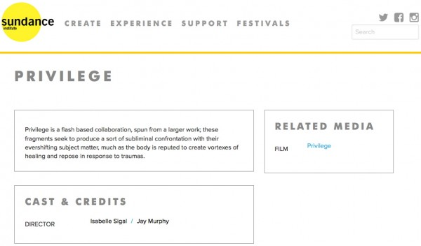 Privilege, Sundance Film Festival, 2002